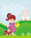 Abstract Easter card with little girl and the Church Stock Images