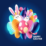 Abstract Easter design. With chocolate eggs and bunny rabbits. Vector illustration stock illustration
