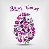 Abstract easter egg. Pink and violet floral elements in shape of easter egg stock illustration