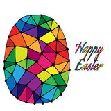 Abstract Easter egg with colorful inscription Happy Easter Stock Photo