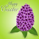 Abstract Easter egg from lilac flowers. Abstract Easter egg from purple lilac flowers on a green background vector illustration