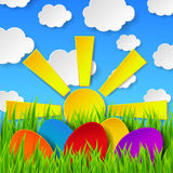 Abstract Easter eggs made of paper on colorful spring background. With green grass, sun, sky and clouds. Vector eps10 illustration Royalty Free Stock Images