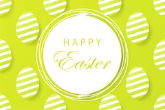 Abstract easter green background with white frame for text. Crea. Tive 3D eggs with pattern. Vector illustration Stock Images