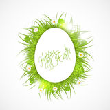 Abstract easter illustration, white egg and fresh  Royalty Free Stock Photography