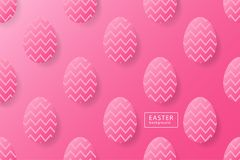 Abstract easter pink background with black frame for text. Creat. Ive 3D eggs with pattern. Vector illustration Royalty Free Stock Photos