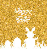 Abstract Easter Sparkle Background with Rabbit, Eggs, Grass Royalty Free Stock Photo