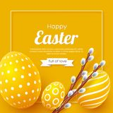 Abstract Easter yellow background. Decorative 3d eggs with frame and willow branches. Vector illustration Royalty Free Stock Photo