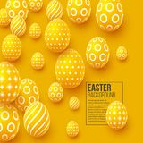 Abstract Easter yellow background. Decorative 3d eggs. Vector illustration Royalty Free Stock Photos