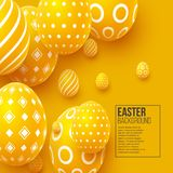 Abstract Easter yellow background. Decorative 3d eggs. Vector illustration Stock Photos