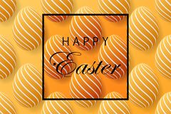 Abstract easter yellow background with black frame for text. Cre. Ative 3D eggs with pattern. Vector illustration Royalty Free Stock Images