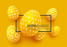 Abstract Easter yellow background. Decorative 3d eggs with frame. Vector illustration Stock Photos