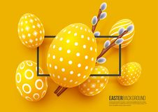 Abstract Easter yellow background. Decorative 3d eggs with frame and willow branches. Vector illustration Stock Images