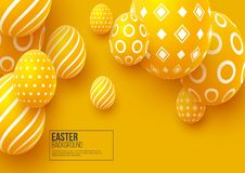 Abstract Easter yellow background. Decorative 3d eggs. Vector illustration Stock Images