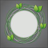 Abstract Eco creative background. Gray with fresh green leaves. Vector illustration Royalty Free Stock Photo