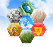 Abstract Eco Green Nature Hexagon Symbol. An abstract hexagon symbol has rocks, a water drop on a leaf, wheat, a bright flower, green grass and yellow fall Royalty Free Stock Photos