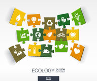 Abstract ecology background with connected color puzzles, integrated flat icons. 3d infographic concept with eco, earth, green. Recycling, nature, sun, car Stock Photo