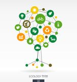 Abstract ecology background. Growth tree concept. Abstract ecology background with connected circles, integrated flat icons. Growth tree concept with eco, earth royalty free illustration