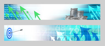Abstract economic horizontal banners. Abstract economic banners. Economics and finance Stock Photo