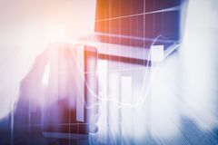 Abstract economy analysis background. Double exposure business m. An on stock financial exchange. Stock market financial on LED. Economy return earning. Stock Stock Image
