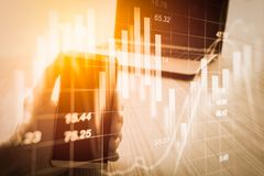 Abstract economy analysis background. Double exposure business m. An on stock financial exchange. Stock market financial on LED. Economy return earning. Stock Stock Photos