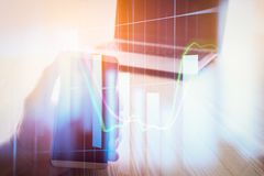 Abstract economy analysis background. Double exposure business m. An on stock financial exchange. Stock market financial on LED. Economy return earning. Stock Stock Photography
