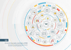 Abstract education and learning background. Digital connect system with integrated circles, color flat icons. Interface design. Elearning, graduation, school Royalty Free Stock Photo