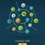 Abstract education and learning background. Digital connect system with integrated circles, color flat icons. Vector. Abstract education and learning background Stock Image