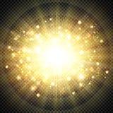 Abstract effect golden sun light for sun burst glittering element. illustration vector eps10 stock illustration
