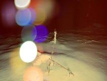 Abstract effect Sneeuw behandelde takken De mening van de de winteraard met sneeuw de winterboom, Royalty-vrije Stock Fotografie