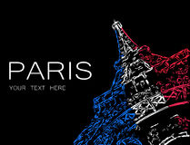 Abstract Eiffel in colors of French flag Stock Photography