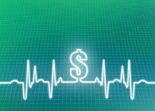 Abstract EKG Healthcare Cost Background Illustration. Abstract money green graphic of ekg/cardiogram with dollar sign indicating financial cost of healthcare Royalty Free Stock Images