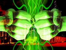 Abstract electric background. Fists and power plant - symbol of power and energy vector illustration