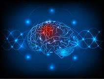 Abstract electric circuit brain. Tecnology concept Stock Photo