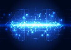 Abstract electric circuit digital brain,technology concept Royalty Free Stock Image