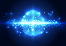 Abstract electric circuit digital brain,technology concept Royalty Free Stock Images