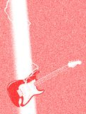 Abstract electric guitar being struck by lightning. A electric guitar being struck by a lightning bolt in abstract background stock illustration