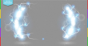 Abstract electric science frame. Shine border with energy lightning and spotlight Royalty Free Stock Photography