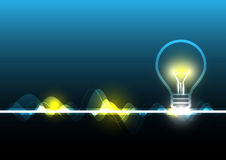 Abstract electricity and light bulb. Illustration Royalty Free Stock Images
