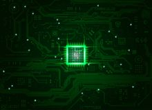 Center CPU. Abstract electronic board and cpu background in dark-green tone Stock Photo
