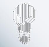 Abstract electronic computer circuit board light bulb icon.vecto Stock Photos