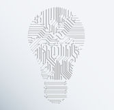 Abstract electronic computer circuit board light bulb icon.vecto Royalty Free Stock Photo