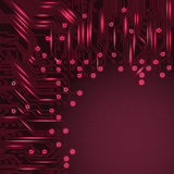 Abstract electronics red background with circuit board texture Stock Photography
