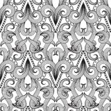 Abstract elegance black and white decorative seamless pattern. M. Onochrome ornamental modern background. Floral hand drawn vintage ornaments with geometric royalty free illustration