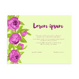 Abstract elegance card with purple peonies for wedding invitation, marriage card, congratulation banner, advertise Stock Image