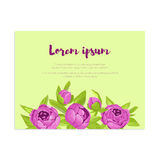 Abstract elegance card with purple peonies for wedding invitation, marriage card, congratulation banner, advertise Stock Images