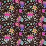 Abstract Elegance seamless floral pattern on a dark background. Bright colors. Beautiful flower texture. Vector illustration. Stock Images