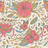 Abstract elegance seamless floral pattern on a pastel background. Seamless patterns are used in textile design, postcards, website Stock Image