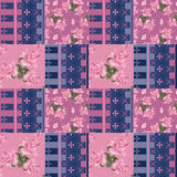 Abstract elegance seamless patchwork pattern with rose flowers b Stock Image