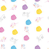 Abstract Elegance Seamless pattern with floral bac. Kground vector illustration