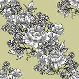 Abstract elegance seamless pattern with floral elements Stock Images